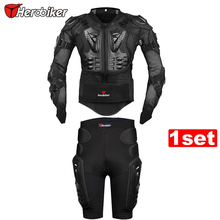 HEROBIER New Moto Motorcross Racing Motorcycle Body Armor Protective Jacket+ Gears Short Pants Black And Red