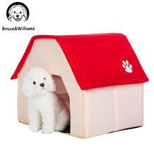 Bruce&Williams Cute House Shape Pet Dog Bed Warm Soft Dogs Kennel Dog House Pet Sleeping Bag Cat Bed Cat House Cama Perro DC0162