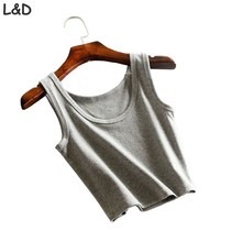 Women Short Crop Top Summer Style Sleeveless U Vintage Crop tops Fitness wears Tank Tops Femme Vest Tank Top