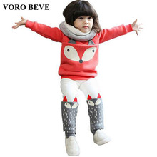 VORO BEVE Autumn winter Baby Girls Clothing set Lovely Children's Clothing 2PCS Thick Long Sleeve Fox Tops + Pant Sets
