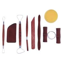 8pcs/Set Pottery Tool Clay Ceramics Molding Tools Stainless Steel Wood Sponge Tool Set Stainless Steel Wood Spong Art Supplies(China)