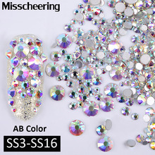 1Pack AB Color Mixed(SS3-SS16) Nail Art Rhinestones Silver Flatback Glass Crystal Gems Non Hotfix Glitter Nail Decorations(China)