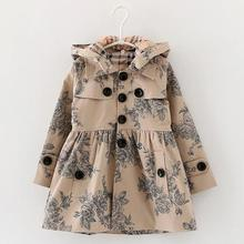 Designer childrens Girls clothes autumn/winter girls trench coat jacket Hat floral hoodies children  jacket coat