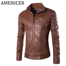 New Arrival Mens Leather Jackets Fashion Slim Fit Casual Stand Collar Men Leather Jacket Abrigos Y Chaquetas Hombre 3 Color