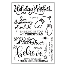 Christmas Holiday Wish Gloves Transparent Clear Silicone Stamp/Seal for DIY scrapbooking/photo Decorative clear stamp sheets(China)