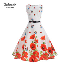 Baharcelin Vestidos New Summer Dress Sleeveless Vintage Floral Printed Butterfly Women Girl one piece Dress 60S Pleated Dresses(China)