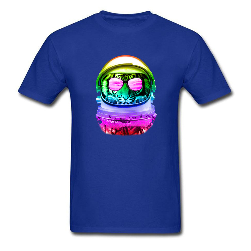 Custom Cool Space Tiger T-Shirt 2018 New Summer/Autumn Short Sleeve O-Neck Tops Tees Pure Cotton Man Street T-shirts Cool Space Tiger blue