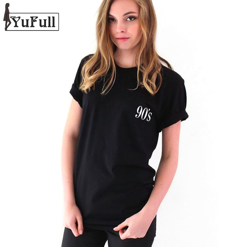 Fashion 2017 Slim Women T Shirt Femme Punk Tumblr 90's Tee Shirt Short Sleeve Summer Tops Tees O-neck Black T-shirt Female