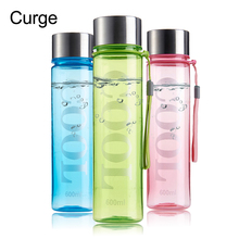 CURGE Brief Style Non-toxic 350ml 600ml Colorful Plastic Water Bottle 300ml 600ml Green Blue Pink #1106(China)