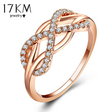 17KM Cubic Zirconia Crystal Infinite Rings For Women 2017 Fashion Design Statement Rose Gold Sliver Color Ring Wedding Jewelry(China)
