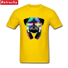 Latest Short Sleeve Music Lover Pug V.II T Shirt Men's Plain Cotton Tees Big Size