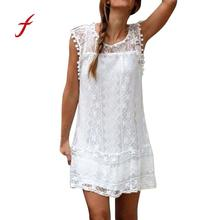 Buy FEITONG Casual Lace Sleeveless Dress Women Sexy Tassel Solid O-Neck Summer Dresses 2018 Beach Party Mini Dress Vestidos 0135 for $4.74 in AliExpress store