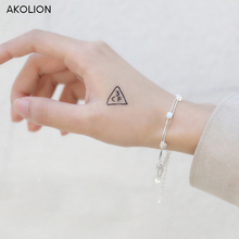 AKOLION Silver block Bracelet for Women with Silver Square Charm Bracelets Party 925 Jewelry Sterling Factory price