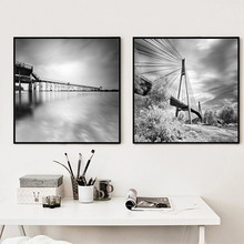 landscape canvas print Art poster wall home decor gift idea graphic geometric black and white poster Frame not include