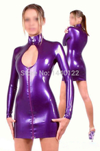 Buy Summer dress 2016 Casual Clothes Sexy Slim Latex Dress Club Wear Purple Rubber Vestidos Party Dresses Plus Size Hot Sale