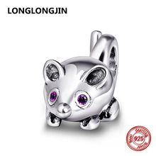 100% 925 Sterling Silver Red Eyes Mouse Charm Fit Pandora Charms pandora Bracelet silver 925 original Pendant Beads Fine Jewelry