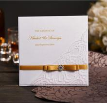 Gold Ribbon Handmade Wedding Invitations Personalized Wedding Cards With Photo & Rhinestone Buckle NK-301 free shipping