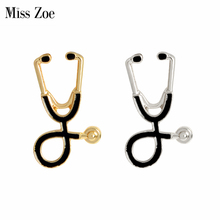 Miss Zoe Stethoscope Brooch Pins Gold Silver Black Collar Corsage Gift for Doctors Nurse Physicians Medical Student Graduation