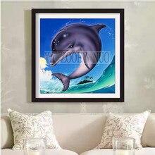 Дельфины на волне в графике вышивка крестом