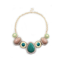 Europe and the United States foreign trade jewelry wholesale texture Green water droplets set auger short necklace(China)