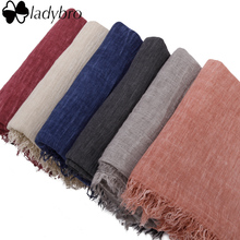 Ladybro Luxury Brand Women Scarf Spring Autumn Europe Cotton Linen Fold Scarves Retro Scarf For Female Elegant Shawls Ladies