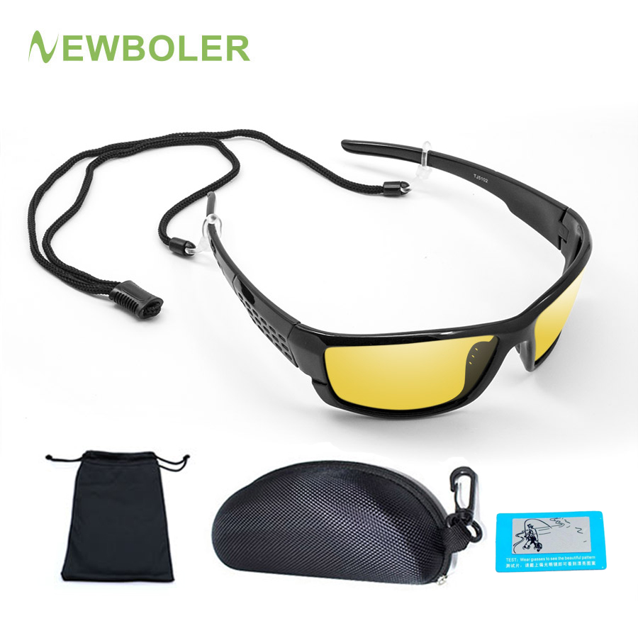 NEWBOLER Fishing Glasses Night Version Polarised Sunglasses Men Women Outdoor Sport Eyewear Driving Yellow Brown Color Lenses