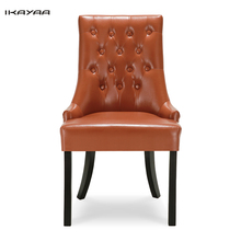 iKayaa Antique Chair Scoop Back Tufted Dining Chair PU Leather Padded Accent Chair Side Living Room Chair Rubber Wood Legs