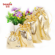 10pcs 9*12cm 7*9cm 10x15cm 13x18cm Gold Drawstring Organza Jewelry Organizer Pouch Satin Christmas Wedding Gift Bag Jewelry Bag(China)