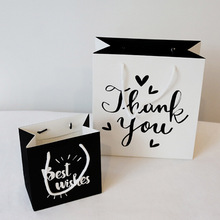 1 PC Cute Party Bags Kraft Paper Gift Bag With Handles Black or White Festival Gift Bags Birthday Wedding Favors(China)
