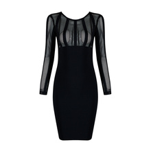 New Women Sexy Long Sleeve Mesh Bodycon Bandage Dress 2016 Knitted Stretch Designer Dress