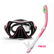 One window snorkel mask and dry snorkel set Tempered glass lens scuba diving mask Top diving and snorkel gears for adult diving