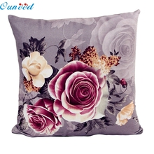 Ouneed 45 x 45cm Happy Gifts Pillow Case Pillow Cover Living Room Home Decorate Cotton Cloth Square Pillowslip