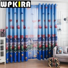 Window Car Curtain Living Room Boys Children Cartoon Blue Curtains Sheer Child Tulle Curtain Bedroom Kids Cortina Para Sala 30(China)