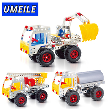 UMEILE Brand 3D Metal Puzzle Screw Toys City Construction Vehicle Excavator Boy Adult Gift Assemble Build Model(China)