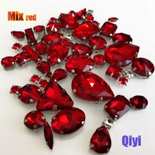Sell at a loss! 50pcs/bag high quality mixed shape red glass faltback sew on claw rhinestones,diy clothing accessories SWM04(China)