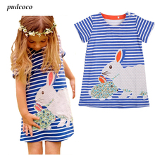 2017 Summer Baby Kids Girls Toddlers Short sleeve Cute Rabbit Blue Striped Sun Dress 2-7Y baby girl summer dress