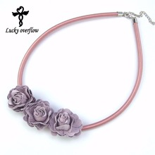 2017 New Arrival Handmade Elegant Fabric Leather RoseNecklaces & Pendants Girl Choker Jewellery Necklace Jewelry For Women Gift(China)