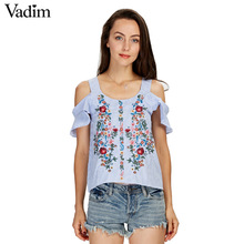 Vadim off shouder floral embroidery striped shirts sweet ruffles short sleeve blouse ladies casual brand tops blusas DT1103