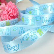 "100yards 5/8"" Printed baby clothes trousers pattern satin ribbon for baby craft packaging decorations 15mm(China)"