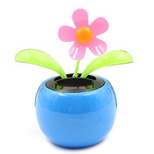 SPF-05 Solar Power Dancing Toy Apple Flower Blue,Novelty Desk Car Toy Ornament blue