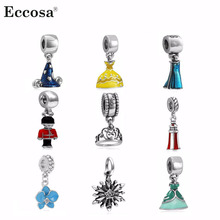 Eccosa Cartoon Mickey Berloque Charm Pendants Silver Blue Enamel Beads Diy Pandora Charms Bracelets Original Jewelry Accessories