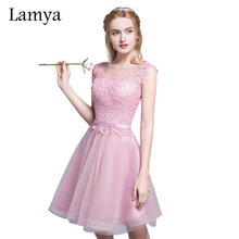 Lamya Elegant Cheap Short Prom Dresses Evening Party Homecoming Dress With Lace 2017 Women's Sexy A Line Gown