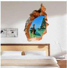 3D Wall Sticker Boat Painting Study Room Wall Paintings Bedroom Sea Three-dimensional Wallpaper Kids Room Ship Painting