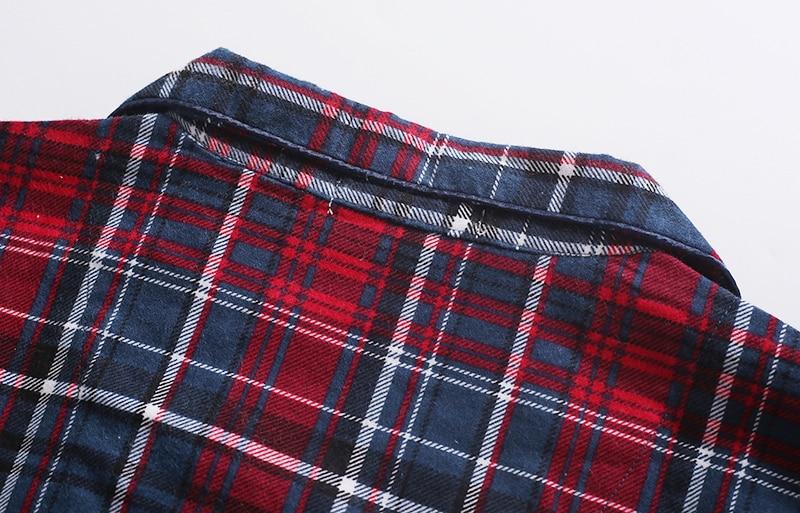 Fashion sexy Plaid 100% cotton male pajamas sets mens casual sleep Clothing simple sleepwear pyjamas pijama de hombre homewear 8