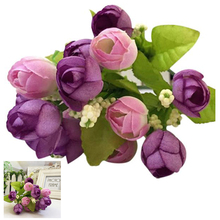 SZS Hot 15 Heads Artificial Rose Silk Fake Flower Leaf Home Decor Bridal Bouquet Purple