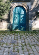 Stone house photography backdrop blue painted door photo background for photo studio background photophone S-727