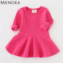 2017 New Spring Casual Style Pure cotton falbala long-sleeved dress Baby candy color Lovely princess dress Baby girl dress