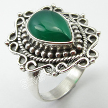 STAMPED Silver REAL GREEN ONYX Ring Size 7.75 Birthday Present(China)