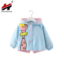 New Autumn Kids Girls Coats Clothing 2017 Baby Girls Fashion Cartoon Dots Hooded Trench Coat 6-36 months !(China)