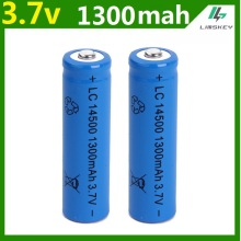 1 pcs/set High capacitance 14500 battery 3.7V 1300mAh rechargeable li-ion battery for Led flashlight batery litio battery Newest